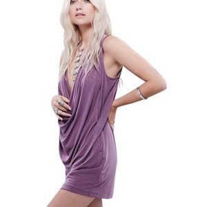Free People Whisper Softly Cowl Neck Mini Dress